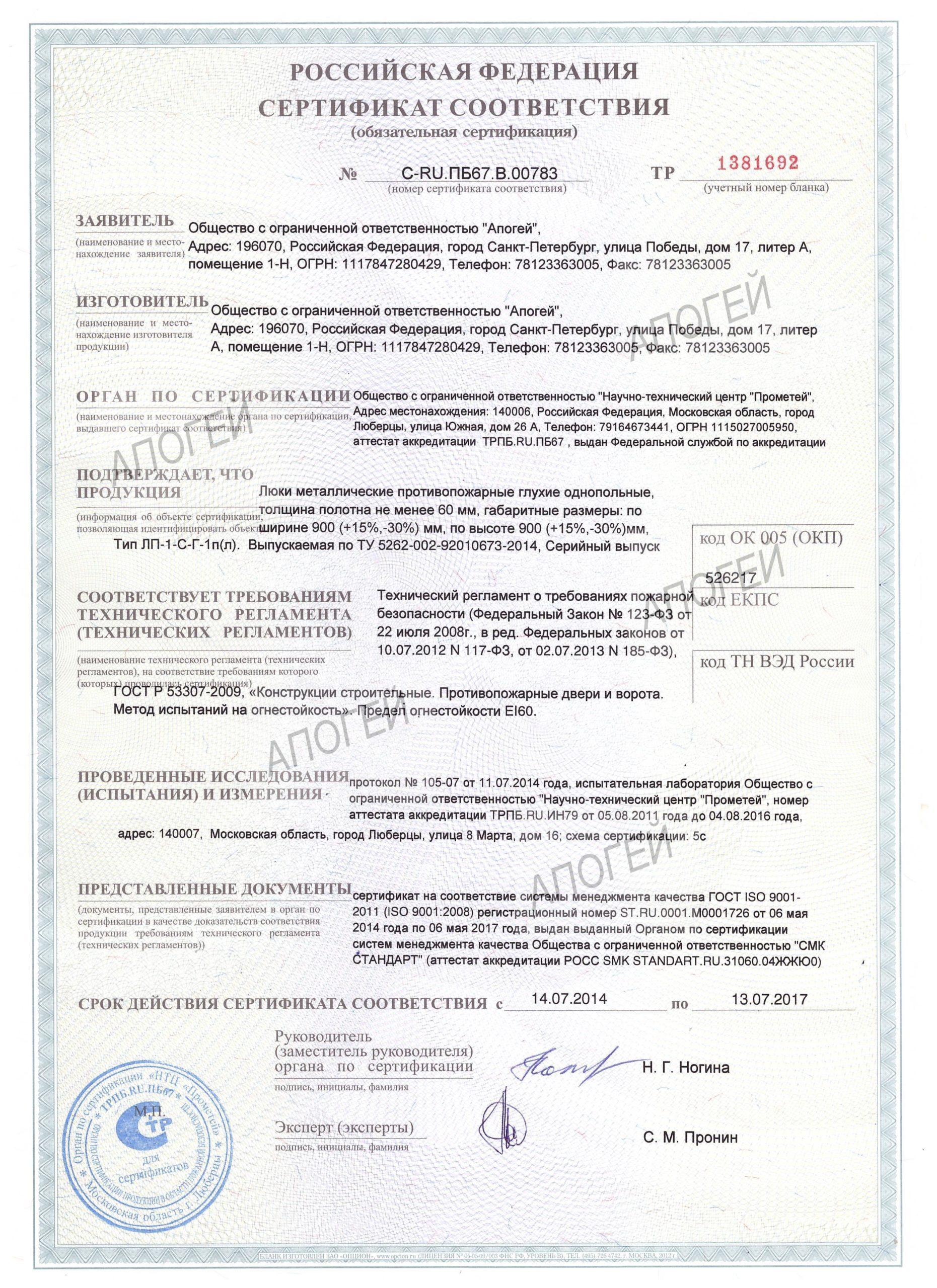сертификат на противопожарные люки