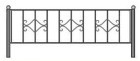 чертеж оградки, могильная ограда спб, газонное ограждение фотогалерея, каталог кованых оград