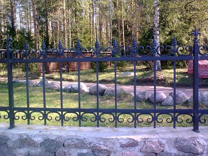 кованый забор, металлический забор с пиками, забор на бетоне, забор для загородного дома фото