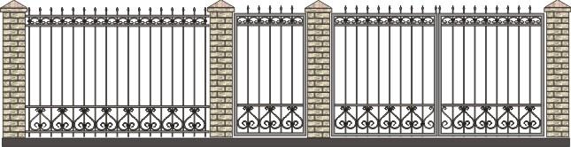ворота садовые, забор с элементами ковки, рисунки садовых ворот, эскизы загородных ворот, скачать решетки, прутья для ворот фото, каталог заборов и решеток, фирма заборы спб