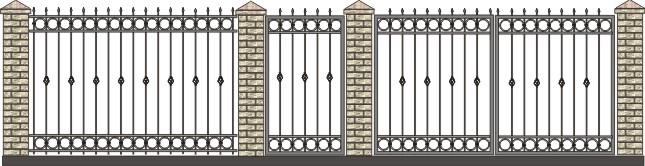 ворота дачные с элементами ковки