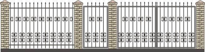 высокие ворота, заборы с элементами ковки, рисунки прочных заборов и ворот бесплатно, эскизы элитных заборов скачать, металлические прутья для ворот фото, каталог заборов заказ, цех по производству заборов и ворот из металла
